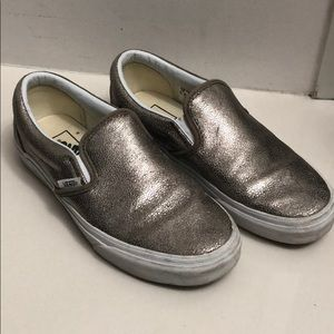 Gently Loved Light Gold Snakeskin Van Slip-Ons